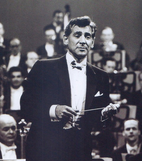 black and white photo of man in tuxedo in front of orchestra as conductor Leonard Bernstein part of Richard Hanson lecture